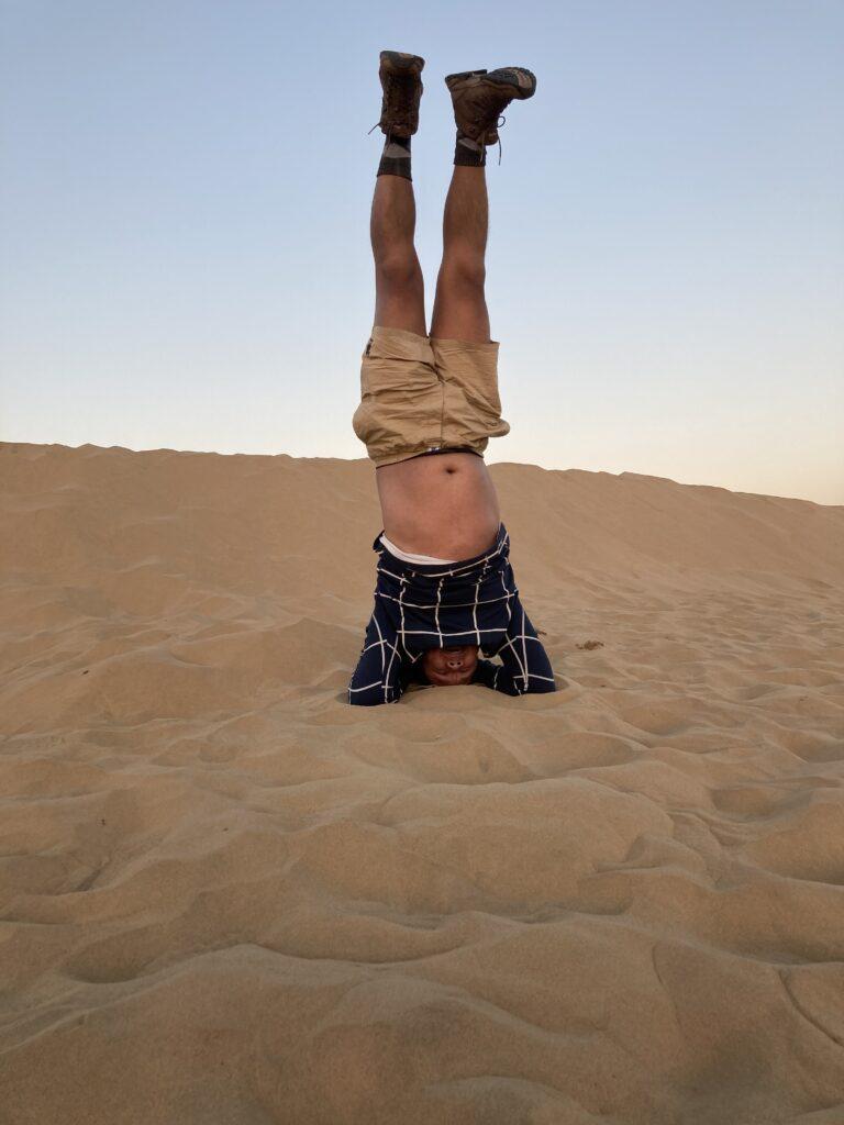Sirsasana At Desert in Jaisalmer